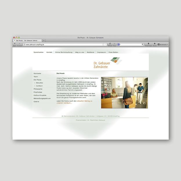 Dr. Gebauer Zahnärzte, Website