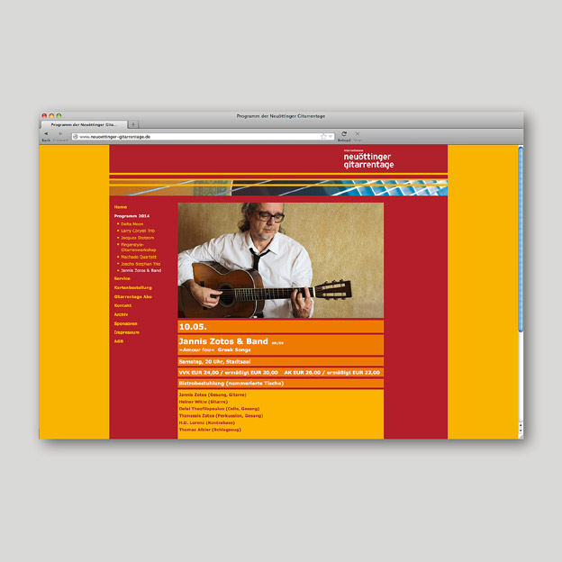 Neuöttinger Gitarrentage, Website