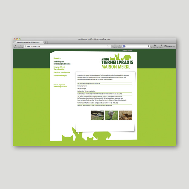 Tierheilpraxis Merkl, Website