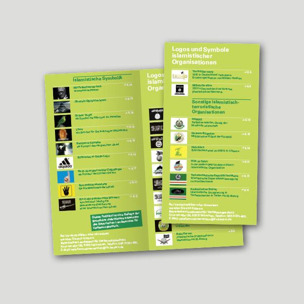 Übersichtsfaltblatt »Logos und Symbole islamistischer Organisationen«