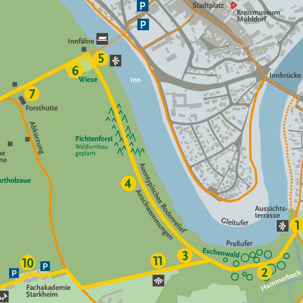 Naturerlebnisweg »Natur Inn Bewegung«, Illutrationen, Info- und Kartengrafik