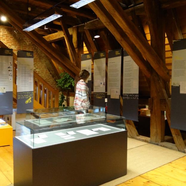 Ausstellung »Franz Xaver Rambold«, Banner und Schaukästen