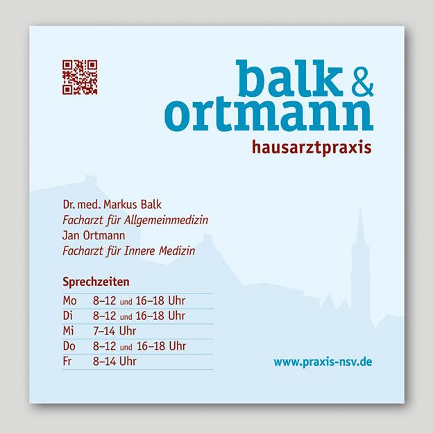Balk & Ortmann, Hausarztpraxis, Praxisschild