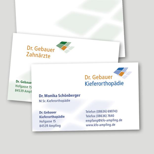 Dr. Gebauer Zahnärzte, Visitenkarten