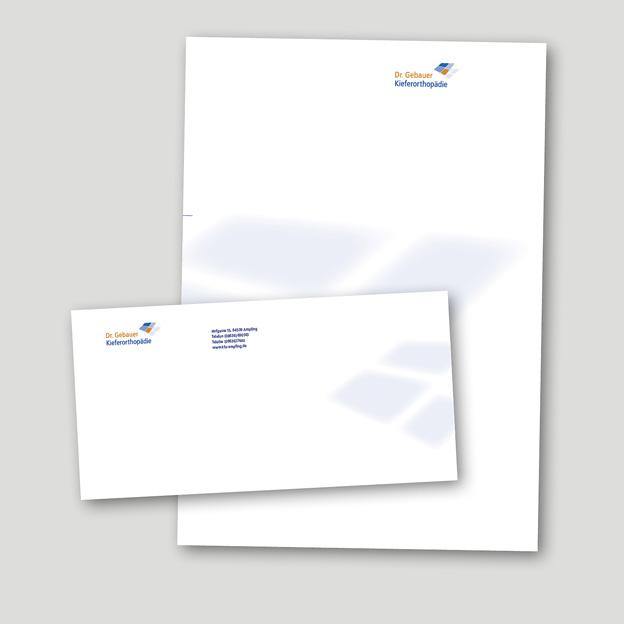 Dr. Gebauer Zahnärzte, Briefbogen und Kuvert