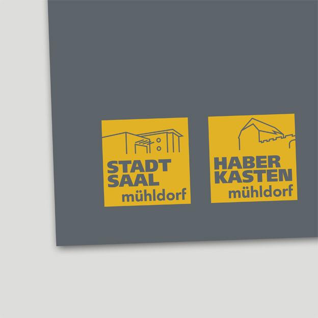 Stadt Mühldorf, Kulturbüro, Signets für Stadtsaal und Haberkasten