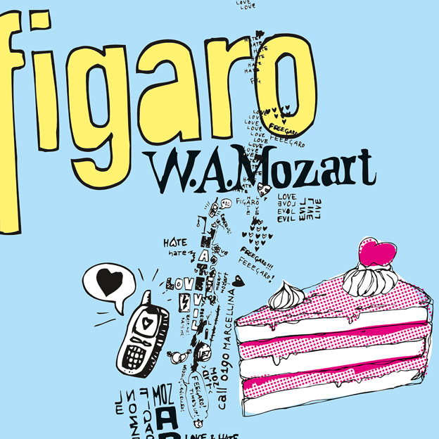 C. Rudholzner, »Le Nozze di Figaro«, Kurhaus Göggingen/Augsburg; Plakat, Einladungen, Programmfolder