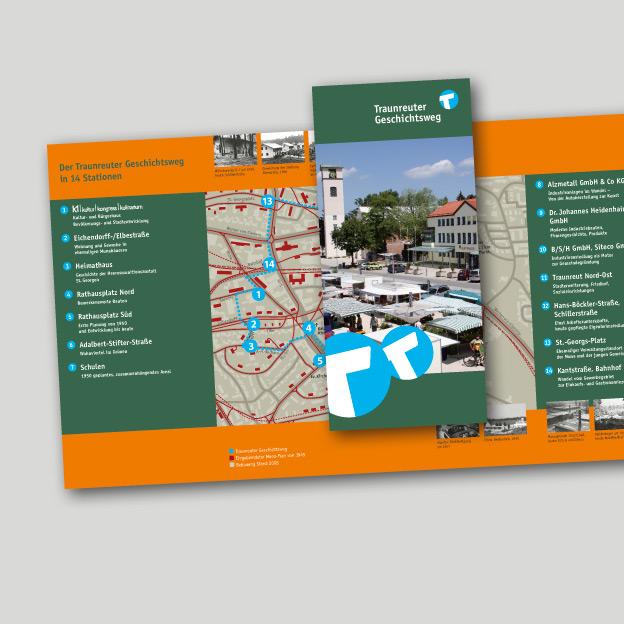 Stadt Traunreut, Geschichtsweg, begleitendes Faltblatt